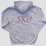 SXE customised diamanté white zip hoody - reverse
